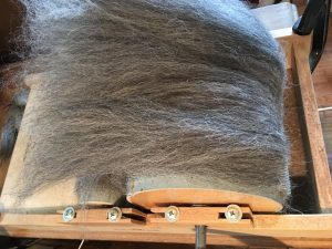 alpaca on drum carder